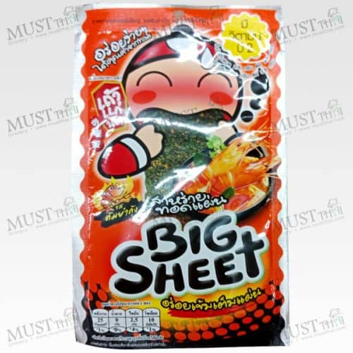 Taokaenoi Big Sheet Crispy Fried Seaweed Tom Yum Goong Flavor 3.5 g