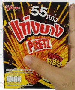 Pretz slim rods,the tasty, spicy BBQ flavored crunchy Biscuits