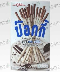 Glico Pocky Cookies & Cream Chocolate Biscuit stick Coated with Milk Flavour and Crushed Cookies 45g