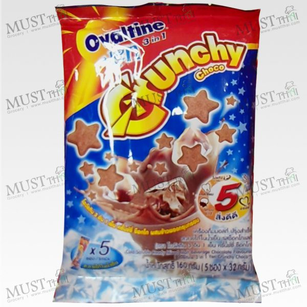 Ovaltine 3in1 Yen Crunchy Choco Chocolate Flavour Cold Soluble Ready Mixed Malt Beverage 165g (32g x 5pcs)