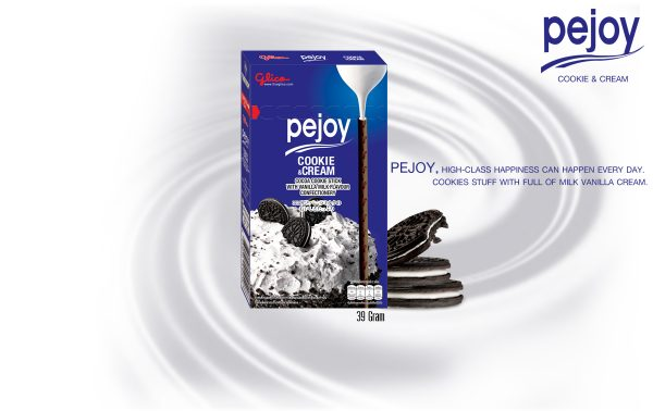 Glico Pejoy Cocoa Cookie Stick with Vanilla Milk Flavour Confectionery 39g