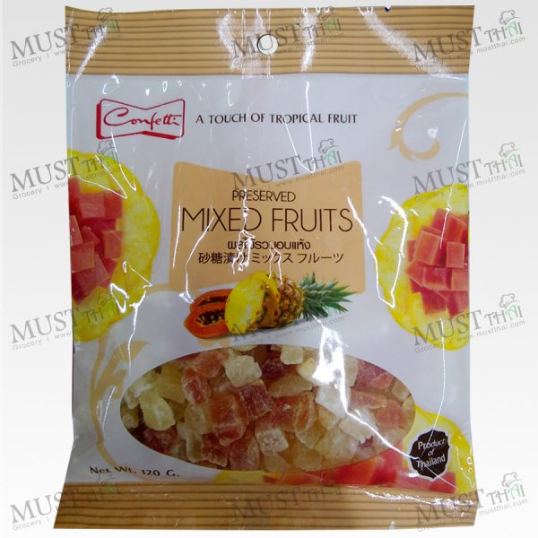 Confetti Preserved Mixed Fruits pineapple and papaya 120g Thai