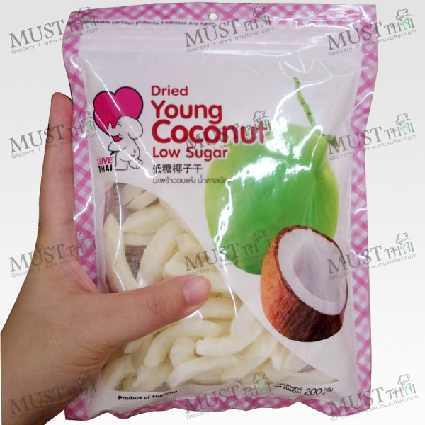 Dried Young Coconut Low Sugar – Love Thai (200g)