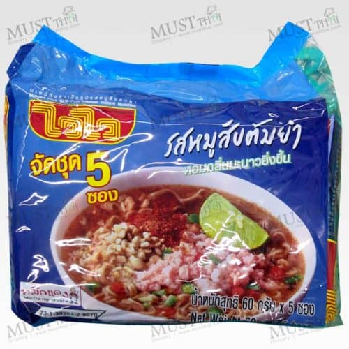 Instant Noodles Minced Pork Tom Yum Flavour - Wai Wai (Pack of 60g x 5pcs)