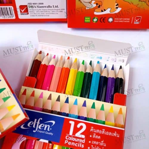 Elfen coloured Pencil 12 brilliant colour, short handle colored pencil.