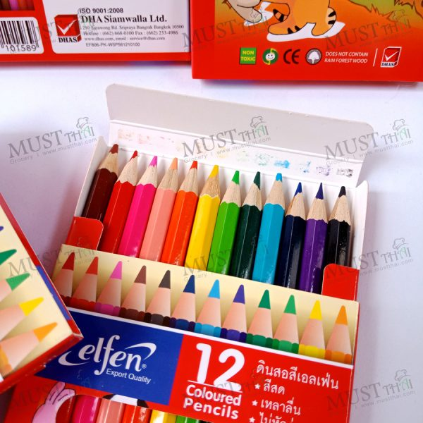 Elfen coloured Pencil 12 brilliant colour, short handle colored pencil.