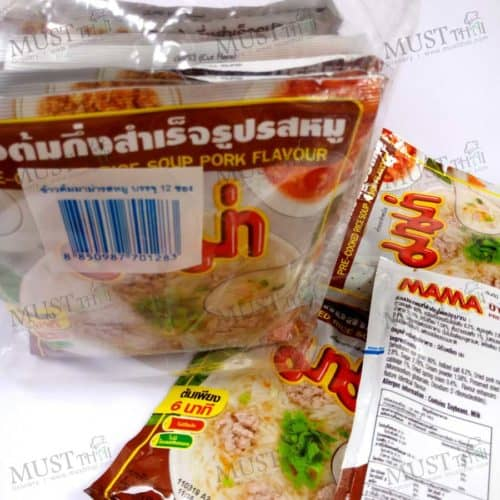 Mama Pork Flavour Pre-Cooked Rice Soup 50g pack of 12