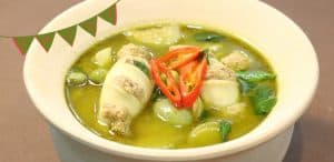 Green Curry Paste is added to chicken or other meats.