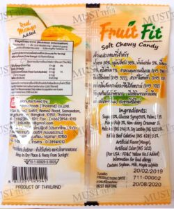 fruit fit Thai soft chewy candy real mango add 17.5 g