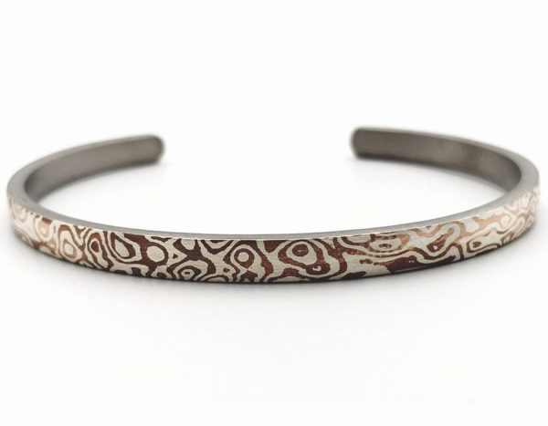 Mokume Gane Bangle, The ONE of Wave reflect Bangle 4mm width