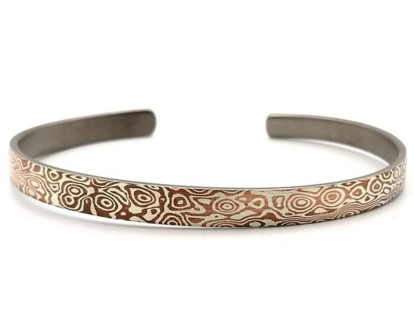 Mokume Gane Bangle, The ONE of Wave reflect Bangle 6mm width