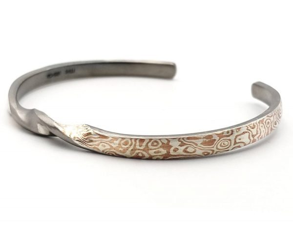 Mokume Gane Bangle, The TWiST of Wave reflect Bangle 4mm width