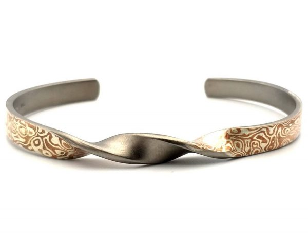 Mokume Gane Bangle, The TWiST of Wave reflect Bangle 6mm width