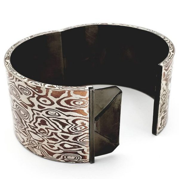 Mokume Gane Hollow light Bangle. silver copper wave reflect pattern