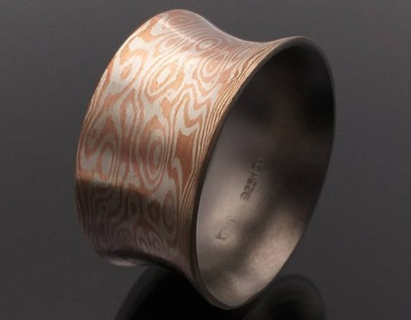 Mokume Gane Ring. The Concave of Wave reflect ring 10mm width.