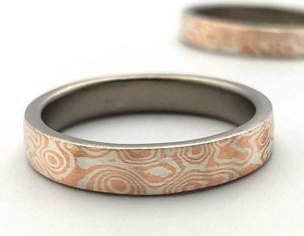 Mokume Gane Ring. The ONE of Wave reflect pattern ring 3mm width.