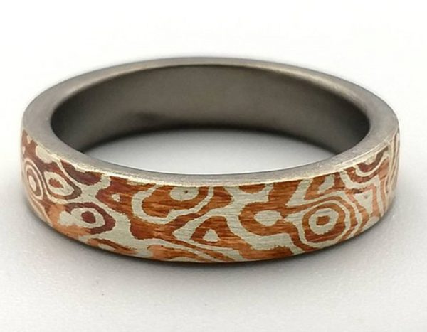Mokume Gane Ring. The ONE of Wave reflect pattern ring 4mm width.