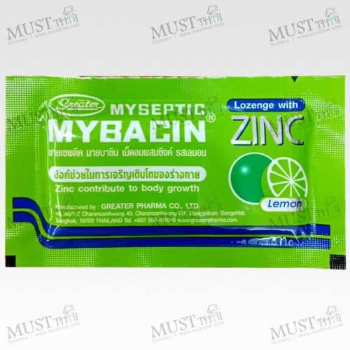 Myseptic Mybacin lemon add Zinc contribute to body growth lozenge Sore throat