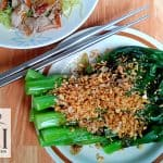 Boiled bok choy with oyster sauce