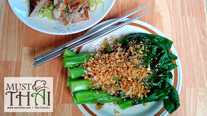 Boiled bok choy with oyster sauce by Thai home cooking