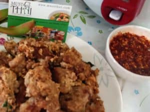 Fried minced pork with spice dipping jaew sauce