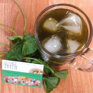 Gotu kola herbal drink with pandan leaves syrup and honey