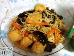 Stir fried ginger with pork, egg tofu and ear mushroom
