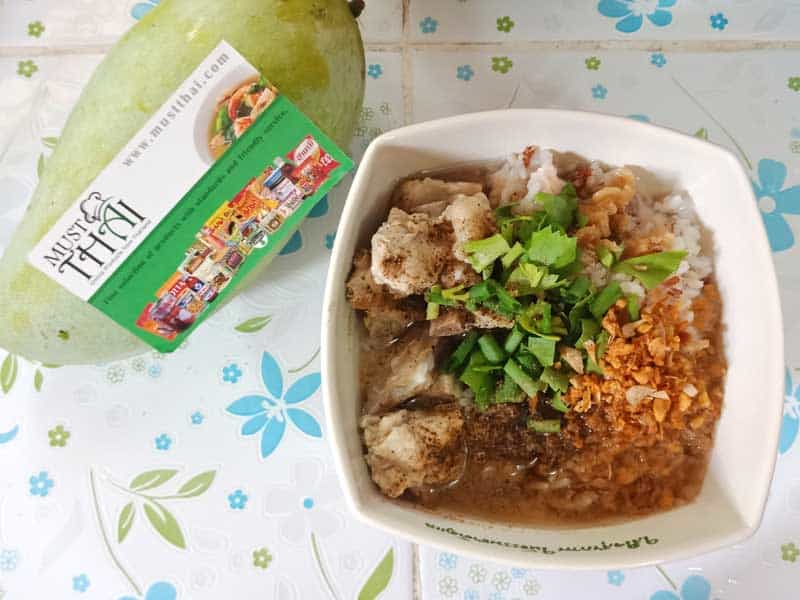 Soft-boiled rice with pork spare rib soup