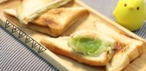 Cheesy Pandan Custard Sandwich