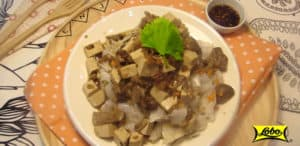 Lobo Steamed Wide Rice Noodles with Tofu Topping