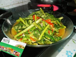 Stir fried Chinese morning glory
