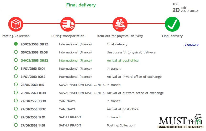 Closely Trace Your Parcel Thai Grocery Online