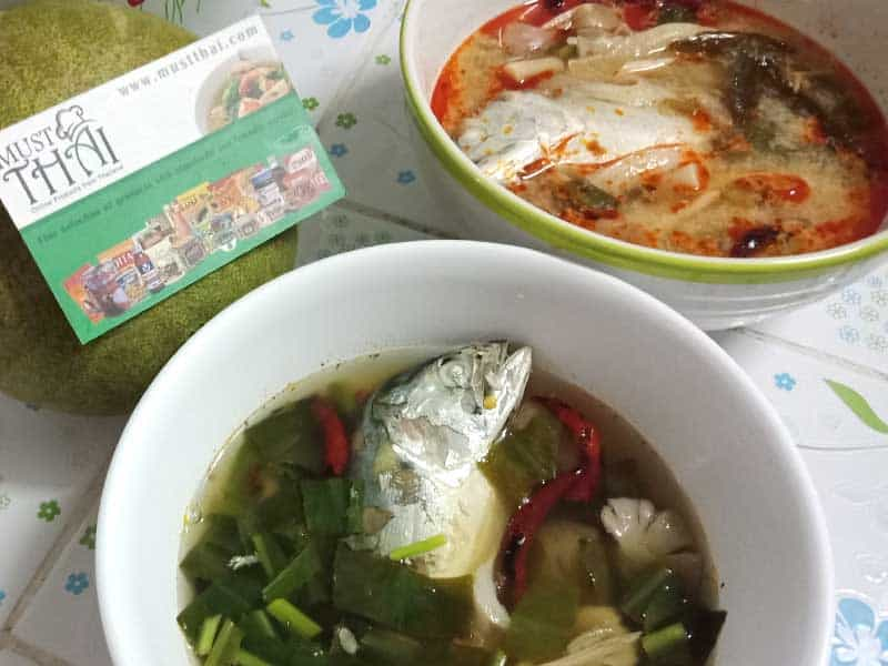 Spicy soup with mackerel and tom yum creamy soup with mackere