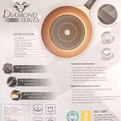 Korea King Diamond Premium Frying Pan 28 cm series gold with flipper free